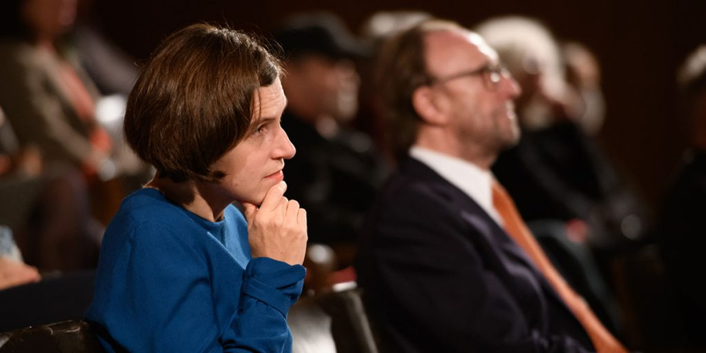 Judith Schalansky mit Protektor Hans Schmid. Foto: APA - Martin Hörmandinger.